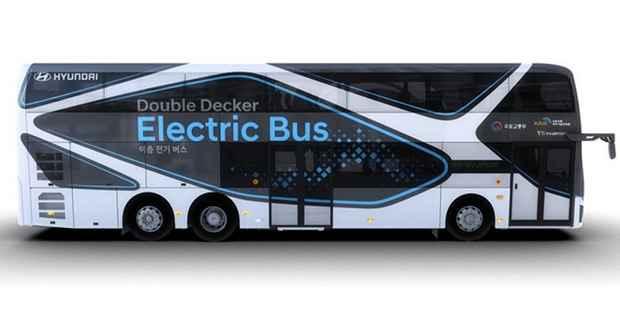 Двухэтажный электрический автобус Hyundai способен перевозить до 70 пассажиров