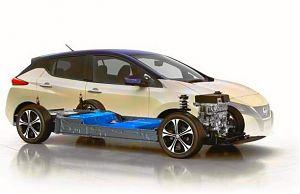 Расположение аккумуляторной батареи в электромобиле Nissan Leaf