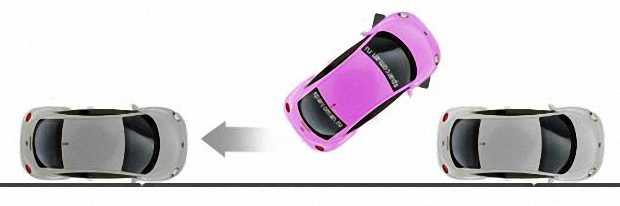 Руль до упора влево и осторожно двигаемся назад