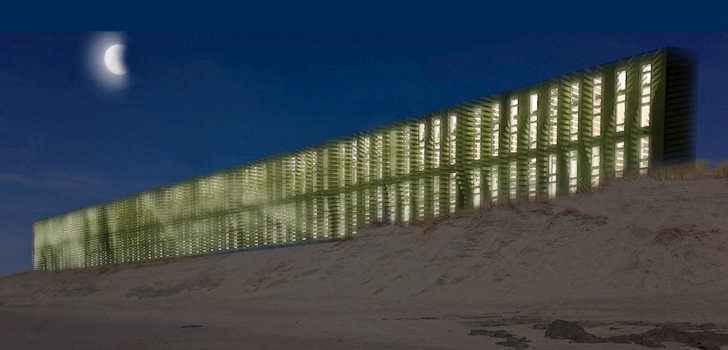 Фасадная сторона системы сбора энергии ветра