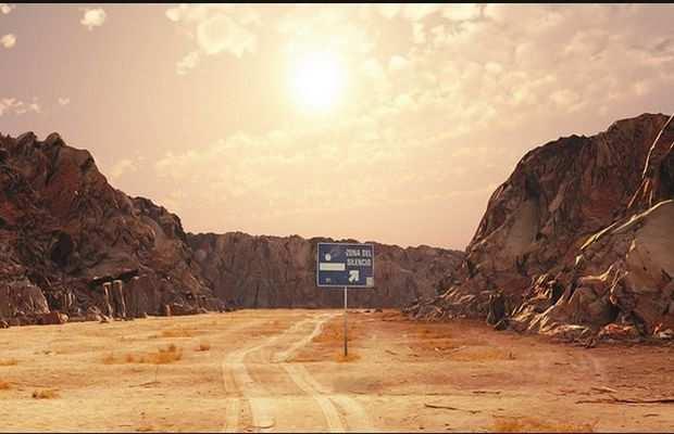 Указатель на Зону молчания - участок загадочной пустыни