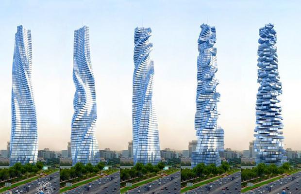 Каждый этаж в Dynamic Tower может вращаться вокруг своей оси