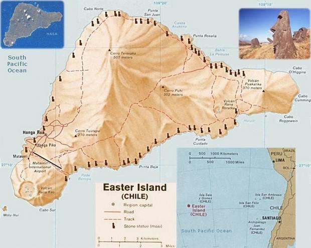 Расположение моаи на острове