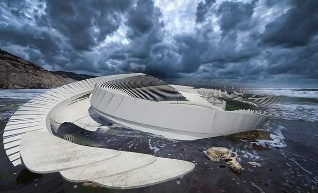 Морские волны омывают Hydroelectric Tidal House