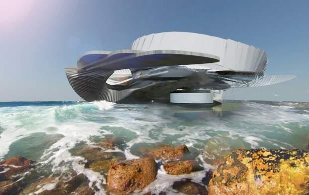 Дом Hydroelectric Tidal House стоит на песке или на скалах
