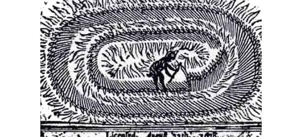 Гравюра дьявола, укладывающего круги