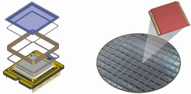 Чип изготавливается при помощи процесса «упаковки на уровне подложки» (wafer-level packaging)