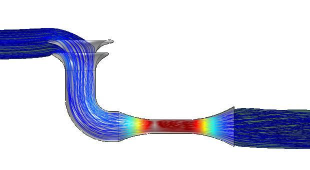 Скорость ветра на разных участках туннеля ветровой турбины
