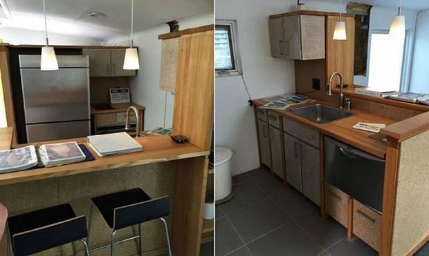 Компактная кухонная зона и универсальный стол