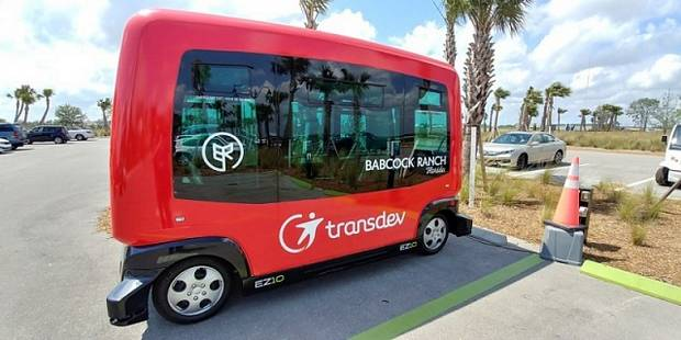 Беспилотный электрический автобус транспортной компании Transdev